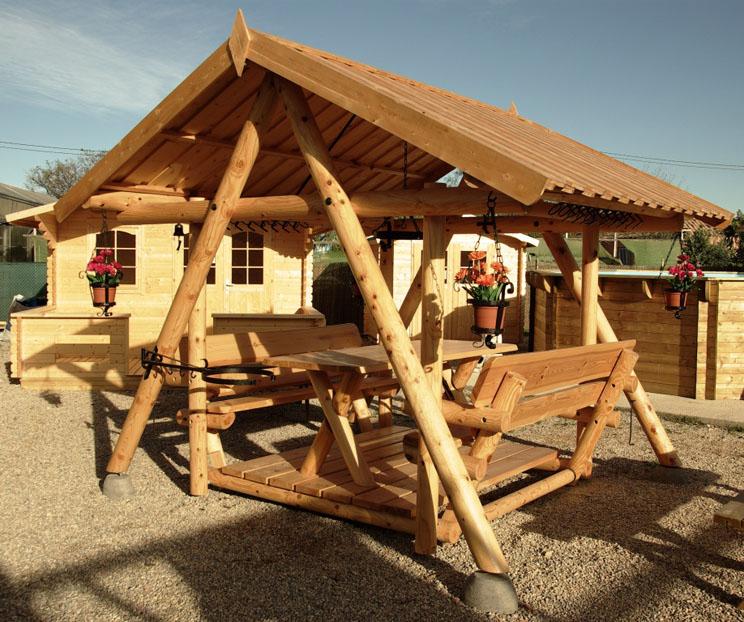 Venta de cenador balanc n de madera modelo maxi for Balancin madera jardin