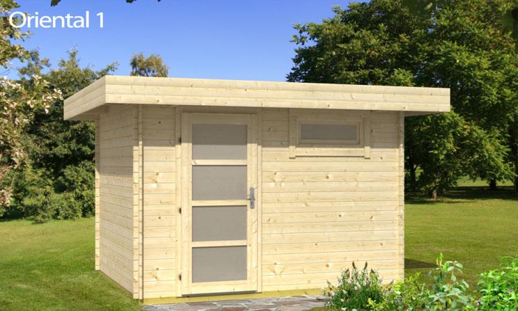 Venta de casetas de madera de techo plano modelo oriental 1 for Cobertizo de jardin moderno de techo plano