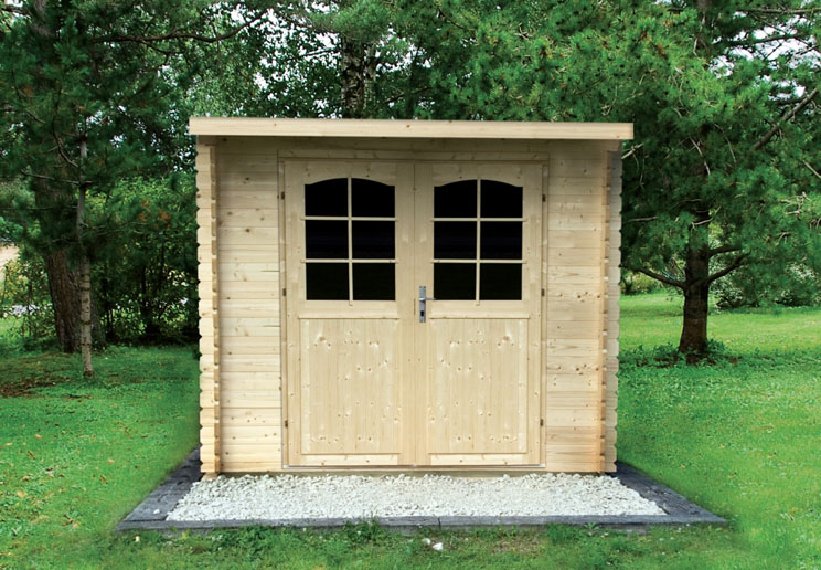 Venta de casetas de madera de techo plano modelo gloria b for Casetas de jardin de madera