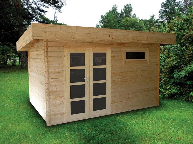 Venta de casetas de madera de techo plano modelo oriental 3 for Casetas jardin madera